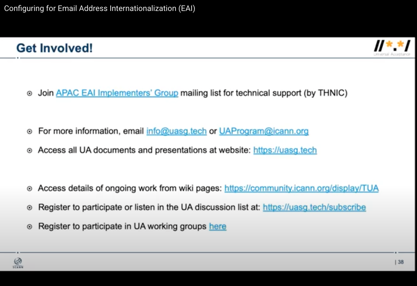 APAC-EAI-IG mailing list was promoted in ICANN-APTLD UA training